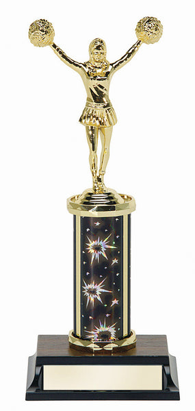 Cheerleading Single Column Silver Fireworks Trophy