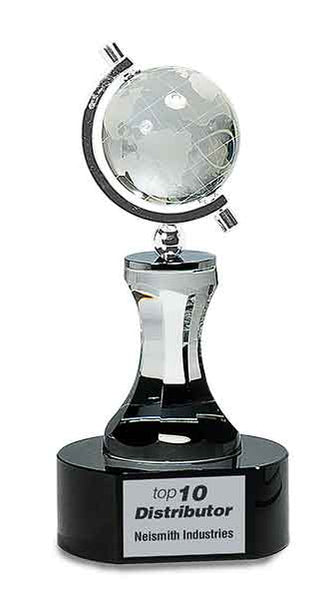 "8 1/2"" Crystal Spinning Globe with Clear Tower on Black Base Award"