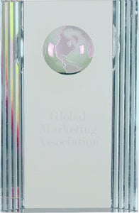 "6 1/2"" Clear Crystal Rectangle with Globe Etching"