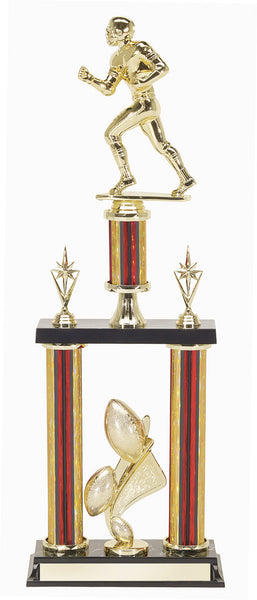 Football Trophy with Double Red & Gold Column