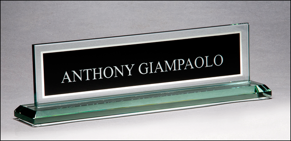 Glass name plate with black silk screened engraving area and mirror border