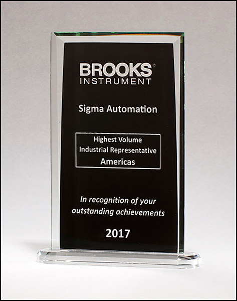 Rectangular Glass Award with Black Silk Screened Center