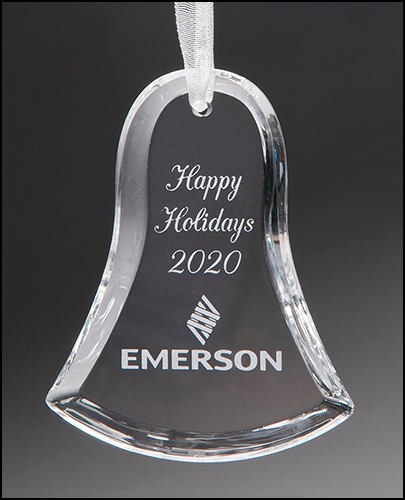 Bell Crystal Ornament with White Ribbon