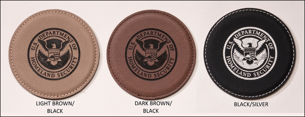 Laser Leather Individual Round Coaster