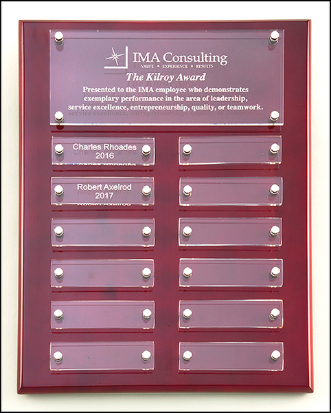"9"" x 12"" Rosewood High Gloss Perpetual Plaque with Acrylic Engraving Plates"