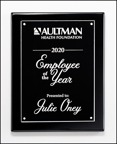 Black High Gloss Plaque with Acrylic Engraving Plate
