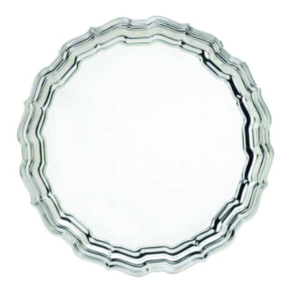 Chippendale Silverplated Tray Plain Center