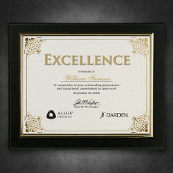 Certificate Holder Black Finish with Gold Trim