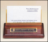 Rosewood Piano Finish business card holder with brass accent