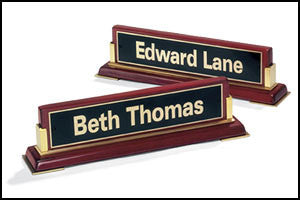 Rosewood Piano Finish nameplate with gold accents