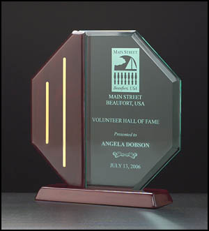 Octagon Series Acrylic Award on a piano-finish base