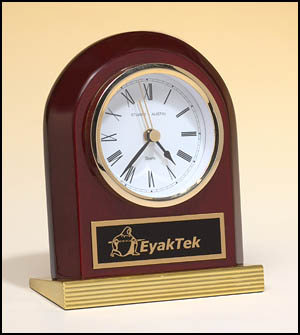 Rosewood piano finish arch clock with gold metal base