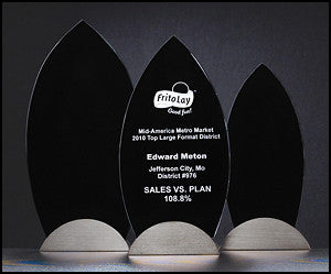 Flame Series Glass Award with black
