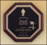 Rosewood Piano Finish Octagonal Plaque