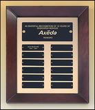 Cherry finish wood perpetual plaque with gold background