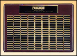 American walnut piano finish perpetual plaque American walnut perpetual plaque with black brass 9 plate combinations