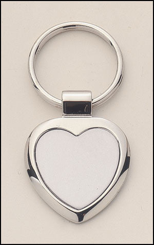 Silver plated keyring with heart engravable aluminum insert