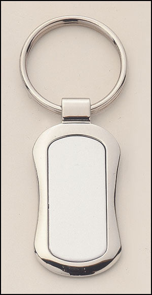 Silver plated keyring with oval engravable aluminum insert