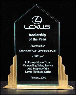 Peak Series Acrylic Award on a Gold-tone Finish Aluminum Base