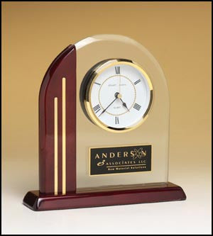 Rosewood Piano Finish Arched clock