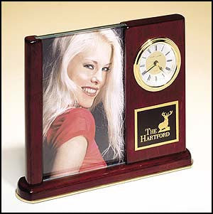 Rosewood Piano Finish Desk clock with glass picture frame