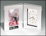 Combination clock and photo frame in polished silver aluminum