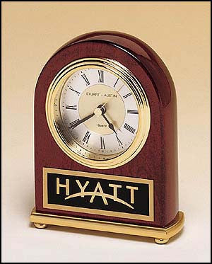 Rosewood piano finish Arch Clock on a brass base