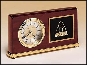 Rosewood Piano Finish Clock on a brass base