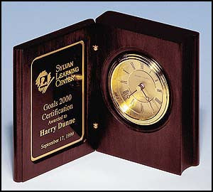 Mahogany Finish Book clock