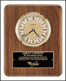 American Walnut Vertical Wall Clock with diamond spun bezel