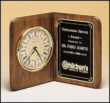 American walnut book clock with ivory dial