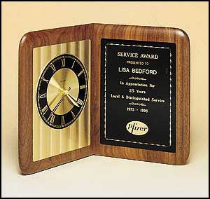 American Walnut Book Clock with diamond cut