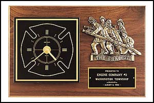 Firematic award clock Plaque
