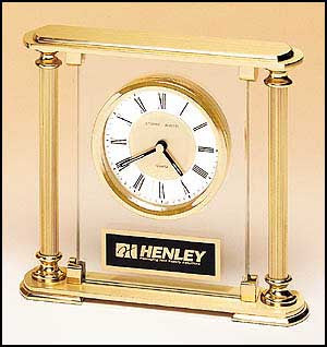 Glass desk clock with diamond spun dial