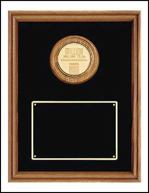 American Walnut Plaque with CAM Medallion and black background