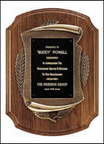 American Walnut Plaque with antique bronze casting curved