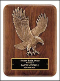 American walnut eagle plaque with curved edges vertical