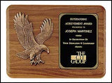 American walnut eagle plaque with curved edges horizontal