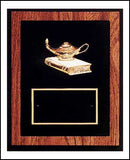 American walnut plaque with black background