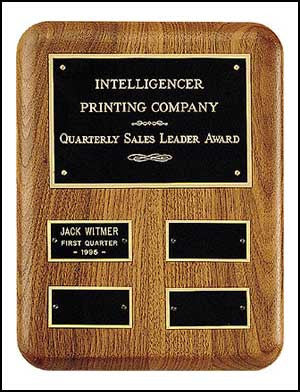 American walnut quarterly award perpetual plaque