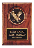 American walnut eagle plaque with medallion