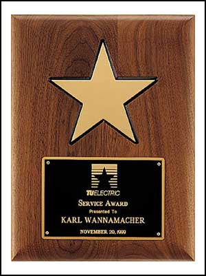 American Walnut Plaque with Gold Star