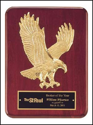 Rosewood Piano Finish Plaque with goldtone finish eagle