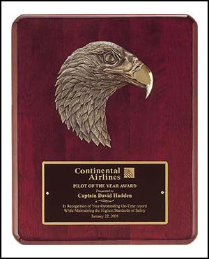 Rosewood Piano Finish Plaque with antique bronze eagle casting