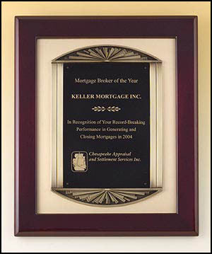 Rosewood Piano Finish Plaque with bronze casting on gold metal background