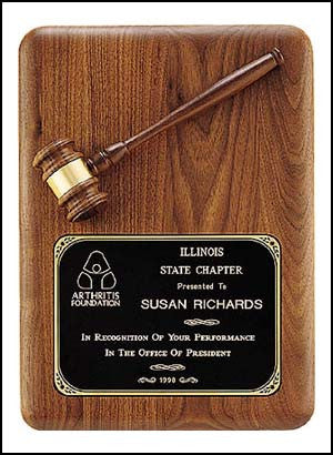 American walnut gavel plaque with walnut gavel