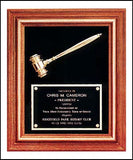 American walnut gavel plaque with metal gavel