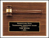 American walnut gavel plaque with horizontal walnut gavel