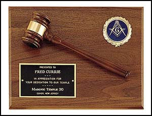 American walnut plaque with walnut gavel and activity insert