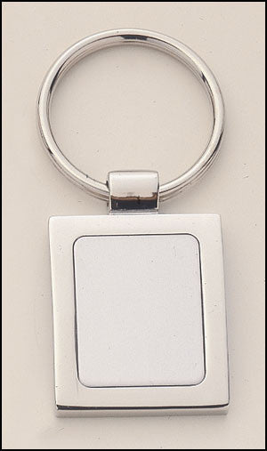 Silver plated keyring with rectangular engravable aluminum insert